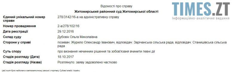 суду e1509186046509 - Мешканець Зарічан VS Станишівська ОТГ . Судовий процес на Житомирщині: є рішення, а далі що?
