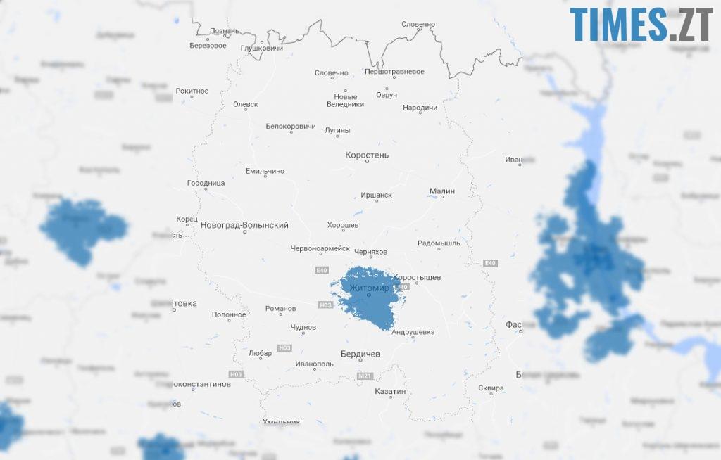 Карта покриття мережі 4G від Київстар. Житомирська область | TIMES.ZT