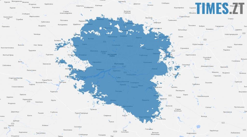 Карта покриття мережі 4G від Київстар. Житомир | TIMES.ZT