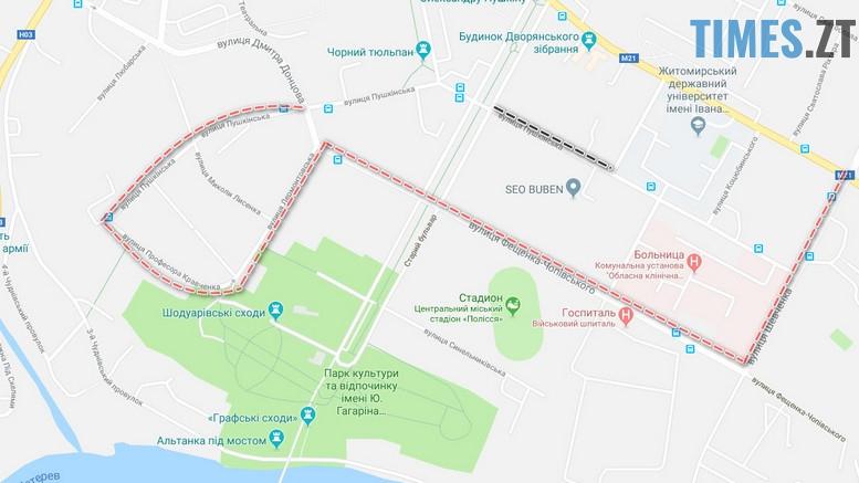 схема - Через перекриття Пушкінської на тиждень зміниться маршрут №58 (СХЕМА)