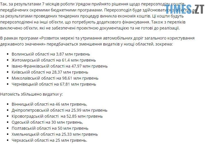 .jpg - Через те, що Житомирщина не освоїла кошти на ремонт доріг, Кабмін «обрізав» фінансування на понад 60 мільйонів