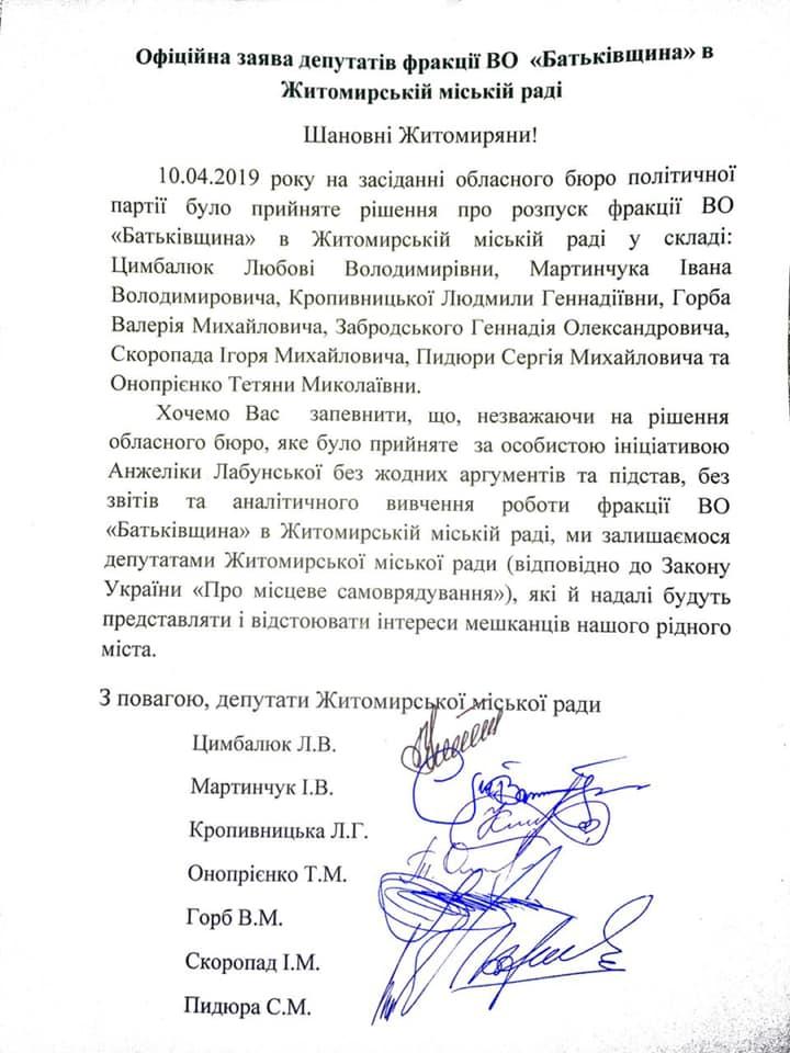 56661913 2094287090870609 3996120147239632896 n - Депутати з розпущеної фракції Житомирської міської ради зробили офіційну заяву