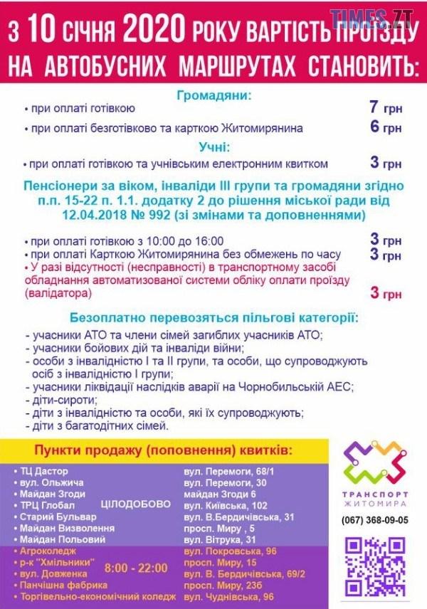 yzobrazhenye viber 2020 01 09 11 41 56 - Від завтра у Житомирі зміниться вартість проїзду у громадському транспорті