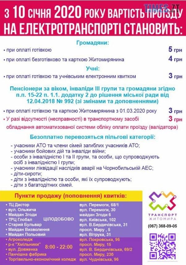 yzobrazhenye viber 2020 01 09 11 42 04 - Від завтра у Житомирі зміниться вартість проїзду у громадському транспорті