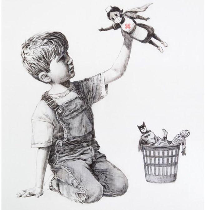 02 - Хлопчики тепер граються… медсестрами? Нове графіті Бенксі розбурхало «карантинних щурів» (ФОТО)