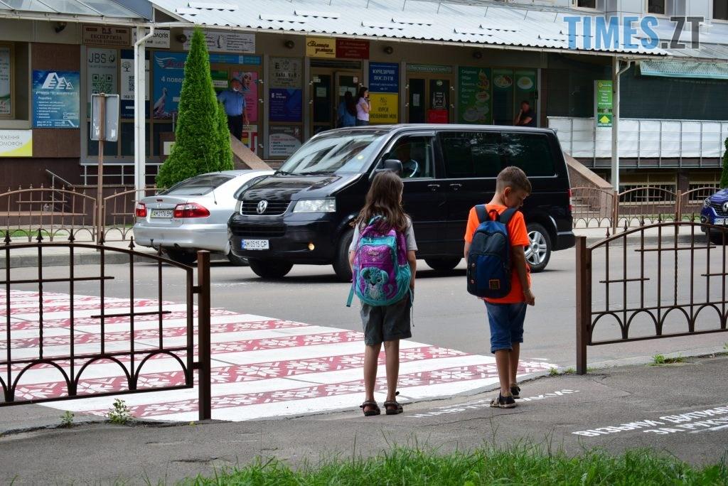3625375e ab9c 46d8 8f91 a4cb2d2f2fad 1024x684 - Повна рожа та шеврони: в Житомирі пішохідний перехід оздобили українським орнаментом (ФОТО)