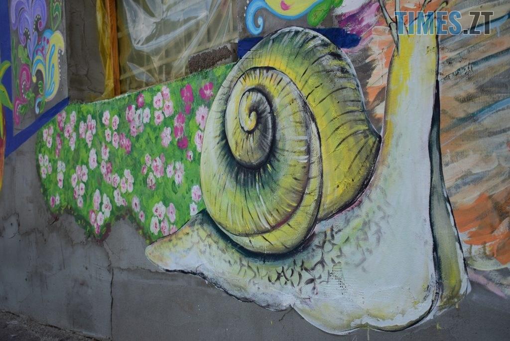 DSC 0977 1024x684 - Синьо-жовтий кіт, фруктовий сад та мистецькі вікна: у Житомирі з'явився новий арт-фасад (ФОТО)