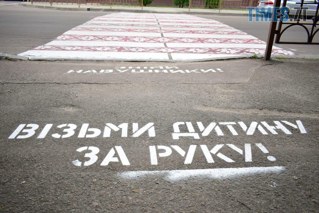 f7ac4803 9a56 490e 8844 992dad7de716 1024x684 - Повна рожа та шеврони: в Житомирі пішохідний перехід оздобили українським орнаментом (ФОТО)