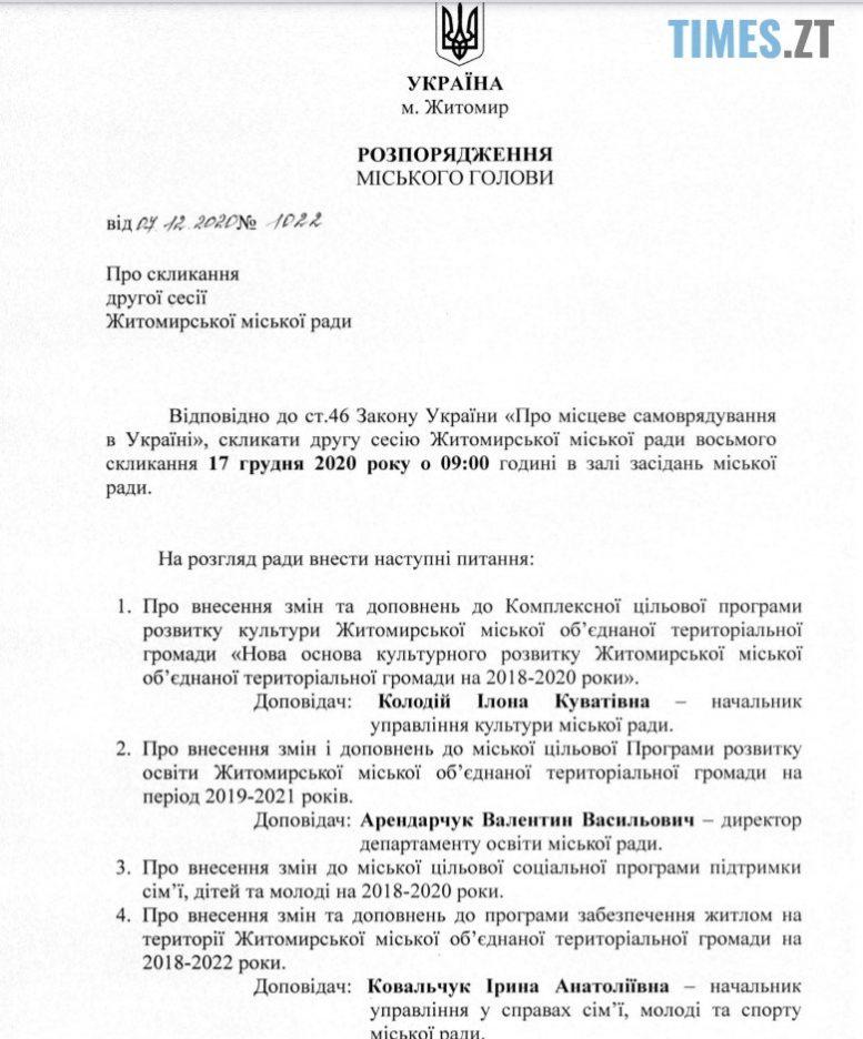 Bez ymeny 1 e1607428196757 - Сергій Сухомлин скликає депутатів на другу сесію Житомирської міської ради